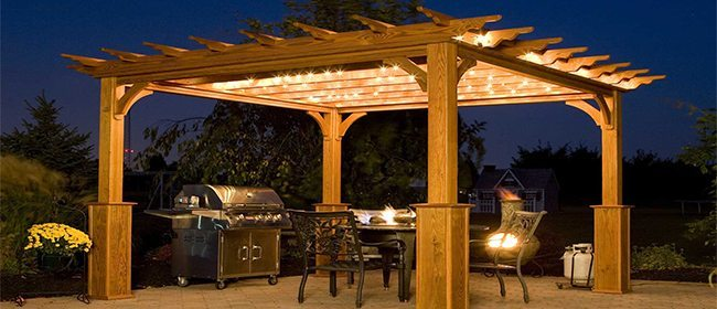 Pergola on Outdoor Patio at Night