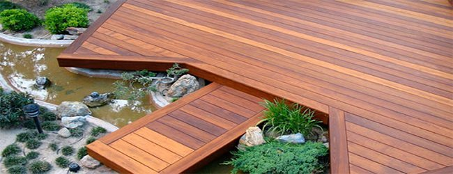 an outside deck made of tigerwood deckboards