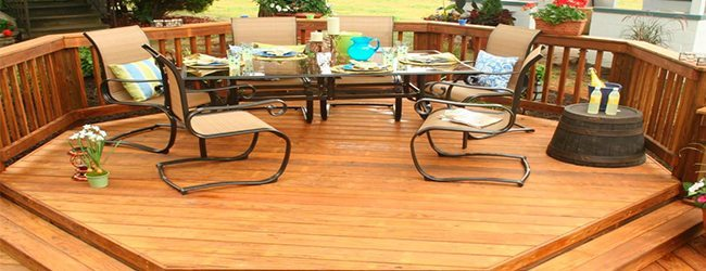 Outdoor deck with a set dinner table