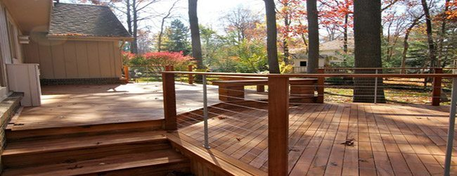 Outdoor deck with cable railing