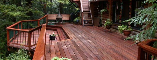 Redwood deck in forested area