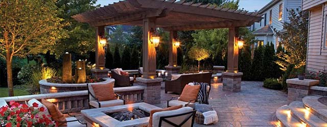 Outdoor living space and patio with a pergola