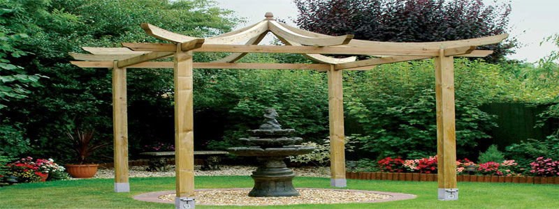 a japanese pergola with curved beams
