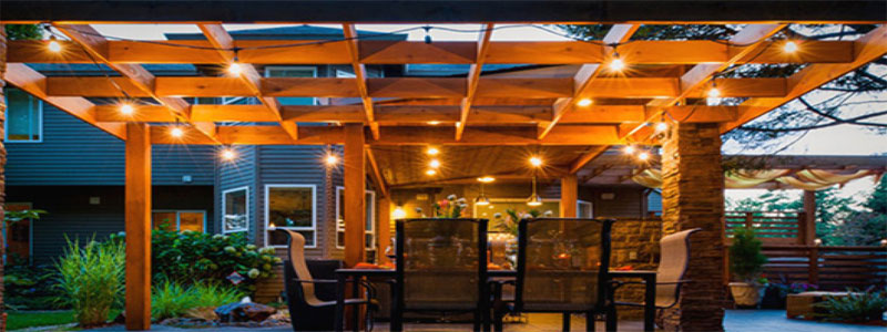 Outdoor Pergola with pergola lights
