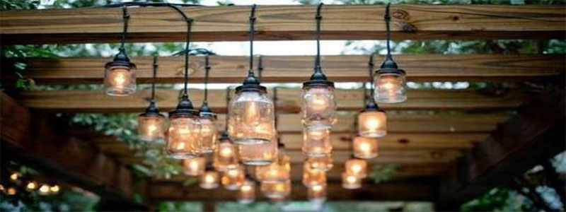 pergola lights in jars