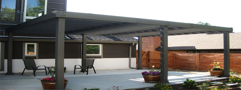 a modern pergola made from metal