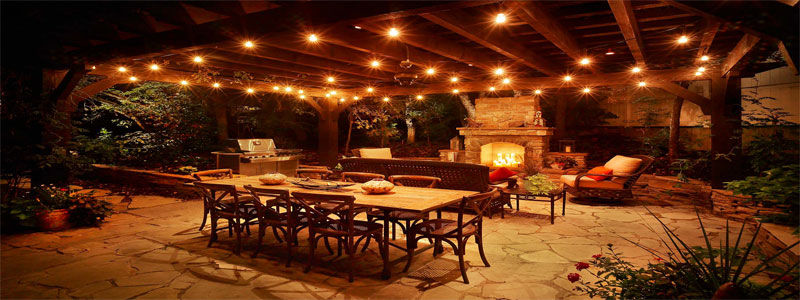 patio seating with pergola lights