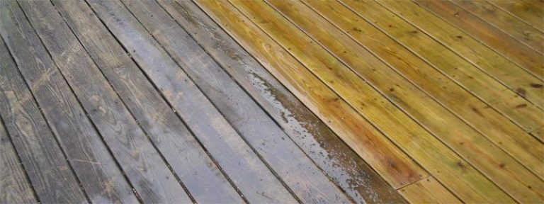 a pressure washed cedar deck
