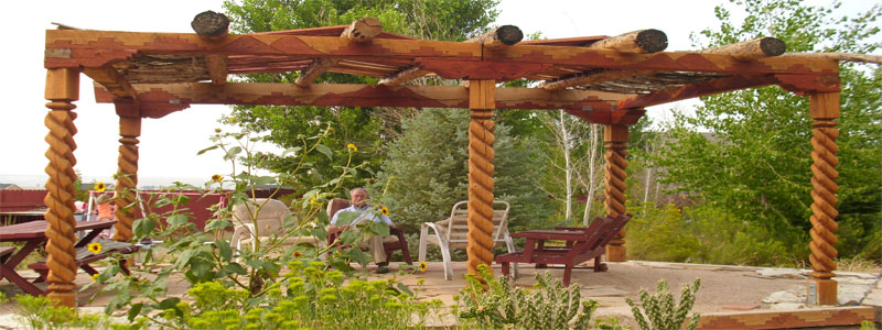 a circular rustic pergola with timbers and beams