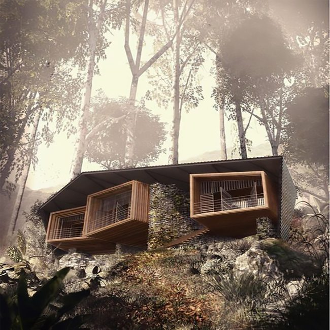Futuristic home design in the forest
