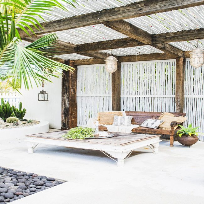 Well Designed outdoor shade cover with white branches