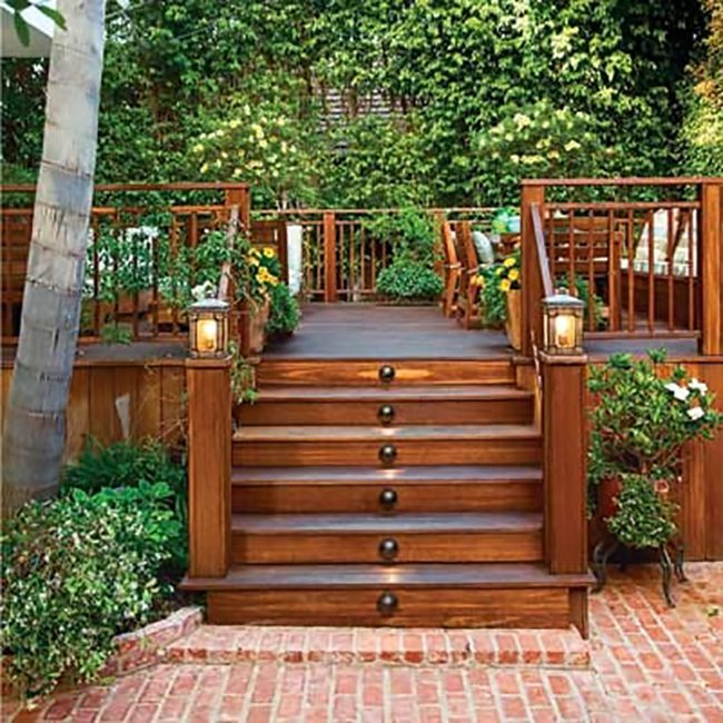 Steps leading up to a wooden deck