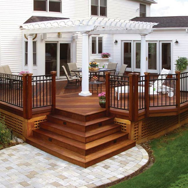 White pergola on a raised deck
