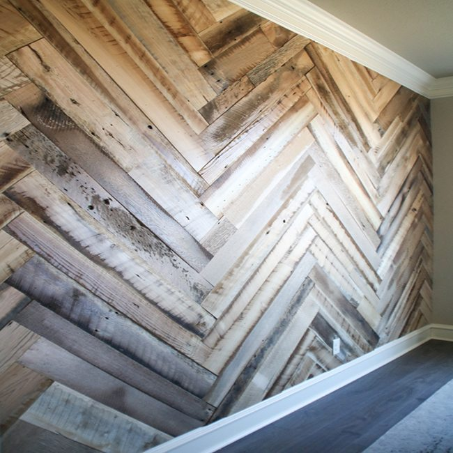 Wood Herringbone Wall